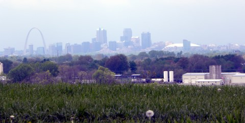 St.Louis from Monk Mound at Cohokia Mounds